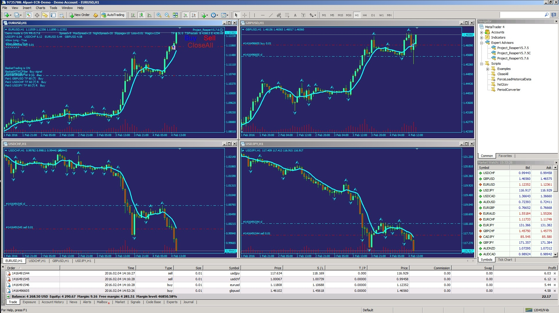 Basket trading example hour run