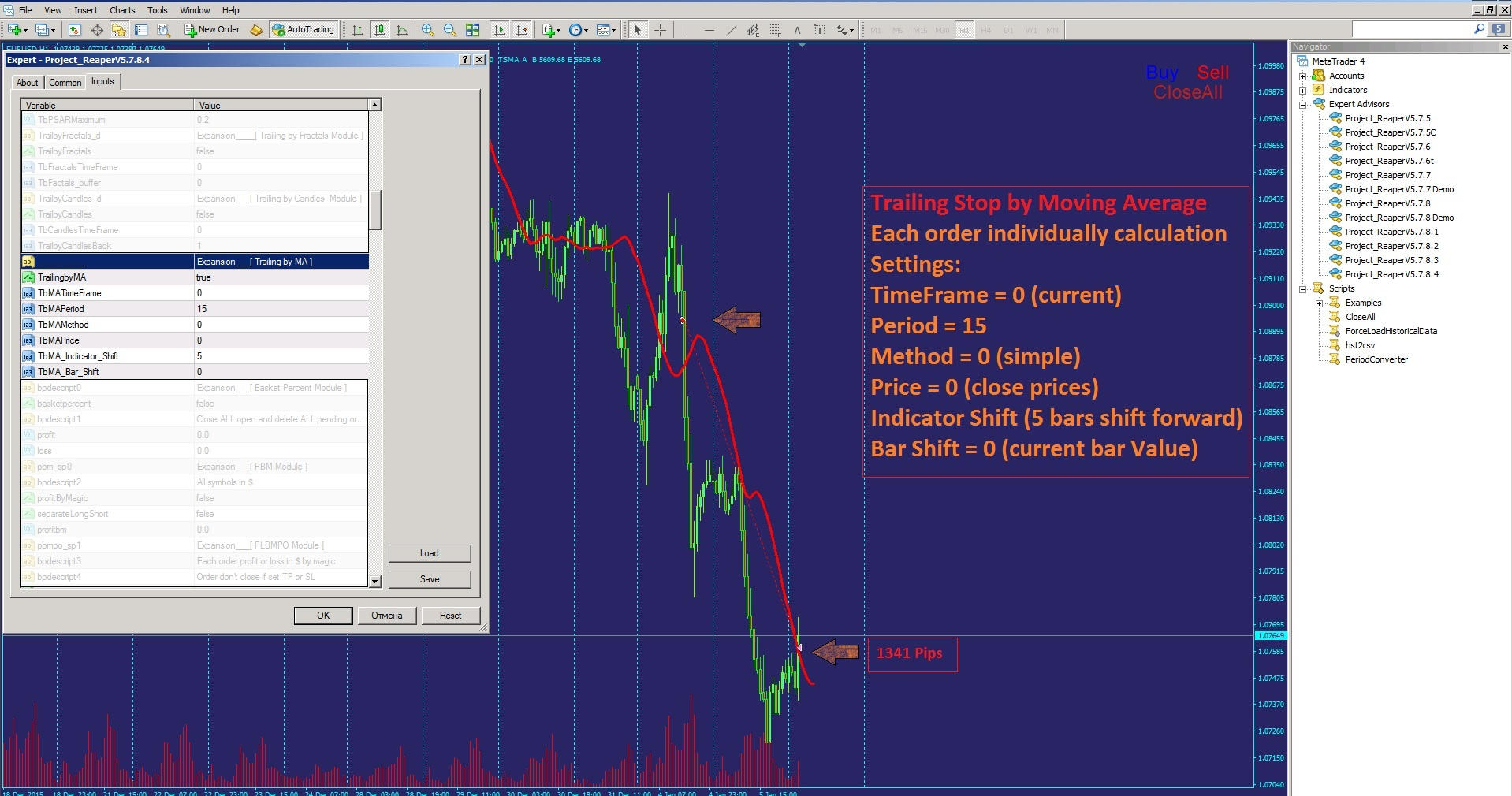 Trailing by Moving Average Trailing stop by Moving Average