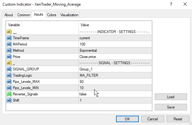moving average signal settings