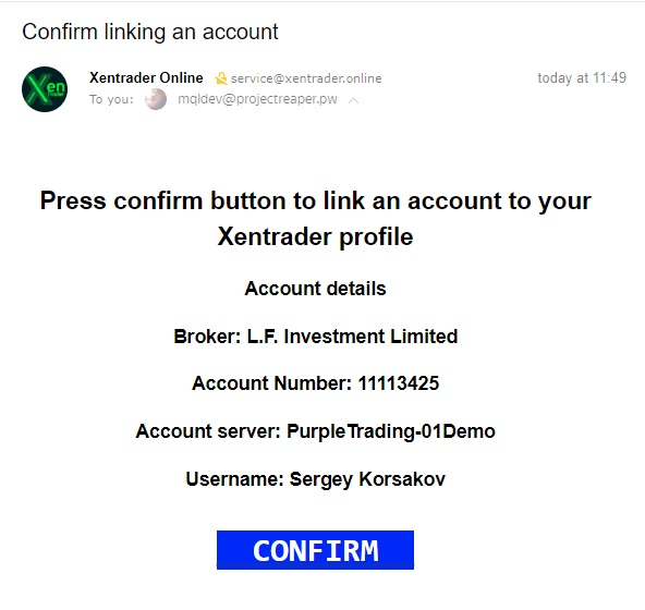 account link up xentrader confirmation email