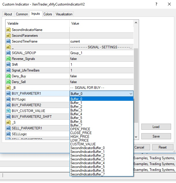 xentrader xmycustom indicator v2 settings
